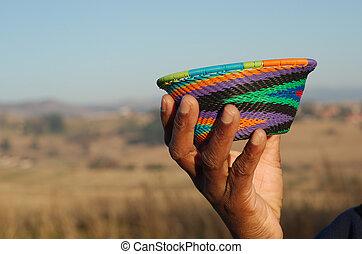 伝統的である, アフリカ, バスケット
