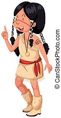 伝統的である, アメリカインディアン, 衣装, ネイティブ