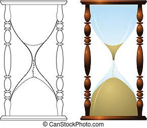 伝統的である, イラスト, 砂時計
