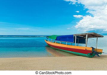 伝統的である, インドネシア人, 漁師, ボート