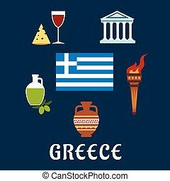 伝統的である, ギリシャ, シンボル, 文化, アイコン
