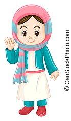 伝統的である, クウェート, 女の子, 衣装