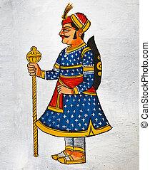 伝統的である, サンプル, インド, udaipur, mural.