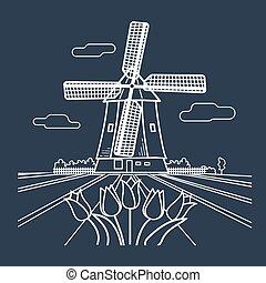 伝統的である, シルエット, オランダ