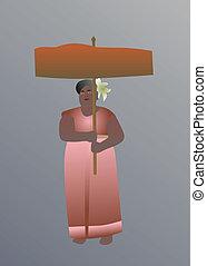 伝統的である, タイ人, 女, 服