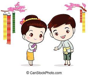 伝統的である, タイ人, 歓迎, sawasdee