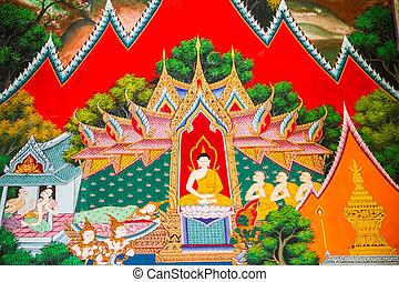 伝統的である, タイ人, 絵, スタイル