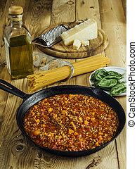 伝統的である, テーブル, bolognese, スパゲッティ, 原料