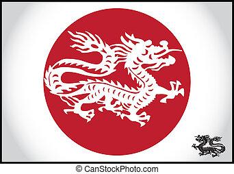 伝統的である, ドラゴン, ベクトル, アジア人