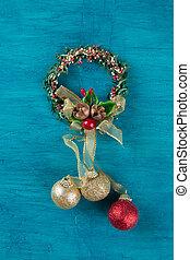 伝統的である, バックグラウンド。, decoration., 花輪, クリスマス, 青