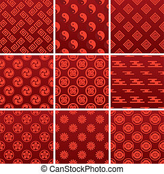 伝統的である, パターン, 日本語, 赤