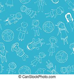 伝統的である, パターン, 衣装, 子供, seamless