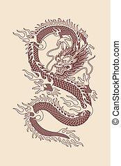 伝統的である, ベクトル, アジア人, イラスト, ドラゴン