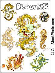 伝統的である, ベクトル, アジア人, ドラゴン