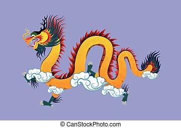 伝統的である, ベクトル, イラスト, 中国のドラゴン