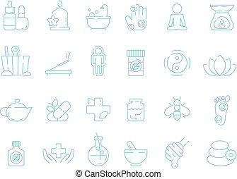 伝統的である, ホメオパシー, ビタミン, osteopathy, naturopathy, シンボル, 草,...