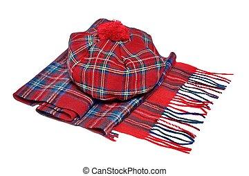 伝統的である, ボンネット, スカーフ, スコットランド, tartan, 赤