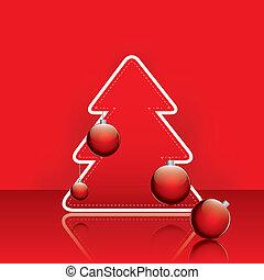 伝統的である, ボール, 木, クリスマス, 赤