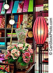 伝統的である, 中国語, 生地, 店