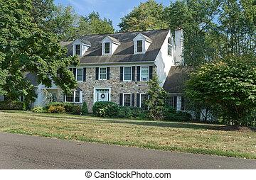 伝統的である, 中心, ホール, colonial/georgian, スタイル, 家族の 家を 選抜しなさい, 中に, 郊外, フィラデルフィア, ペンシルバニア