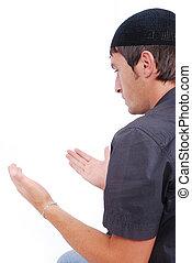 伝統的である, 人, muslim, 方法, 祈ること