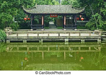伝統的である, 公園, パビリオン, 中国語