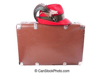 伝統的である, 型, ババリア人, 帽子, スーツケース