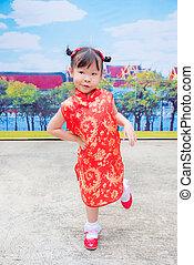 伝統的である, 女の子, 衣装, 中国語