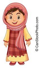 伝統的である, 女の子, 衣装, irag