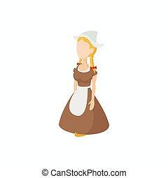 伝統的である, 女の子, netherlands, 衣装, アイコン