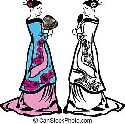 伝統的である, 女, 日本語, 芸者