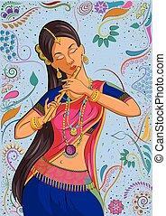 伝統的である, 女, indian, ダンスとなりなさい