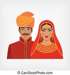 伝統的である, 女, indian, 人, 衣服