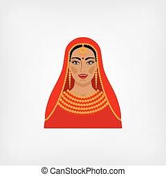 伝統的である, 女, indian, 衣服