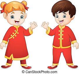 伝統的である, 子供, 衣装, 中国語, 漫画