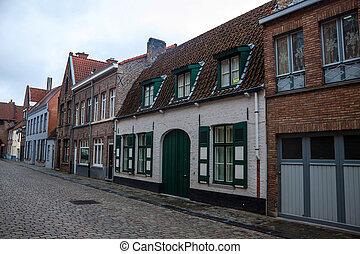 伝統的である, 家, れんが, bruges, ベルギー