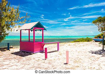 伝統的である, 家, 海岸, カリブ海, 明るい
