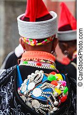 伝統的である, 帽子, 女, 陶磁器, 南