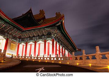 伝統的である, 建物, 現場, 中国語, 夜
