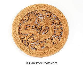 伝統的である, 数字, 木製である, 分離, mythological, 記念品, ドラゴン, 陶磁器, 贈り物
