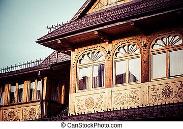 伝統的である, 木製である, poland., 小屋, ポーランド語, zakopane