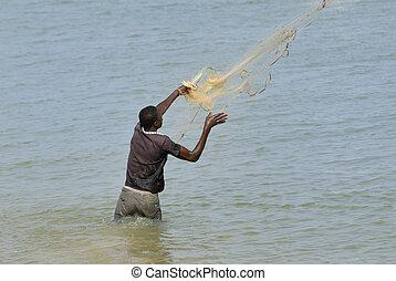 伝統的である, 漁師, セネガル