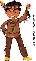 伝統的である, 男の子, アメリカインディアン, 衣服