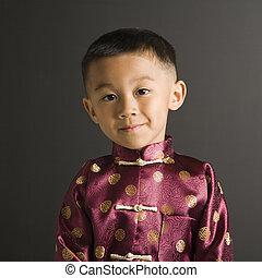 伝統的である, 男の子, costume., アジア人