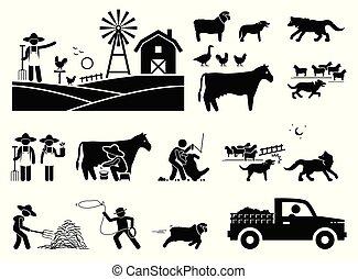 伝統的である, 納屋, cliparts., ライフスタイル, 農夫
