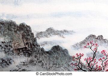 伝統的である, 絵, 風景, 中国語