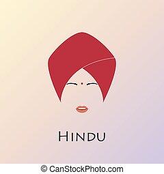 伝統的である, 肖像画, indian, 王女, hat.