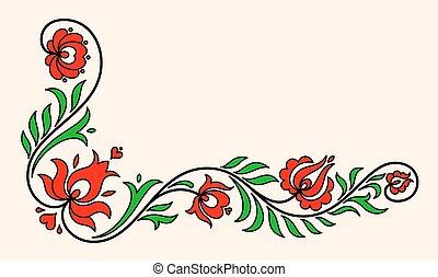 伝統的である, 花, モチーフ, ハンガリー人