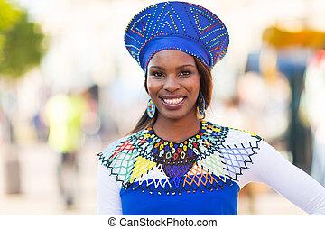 伝統的である, 衣服, 女, 若い, アフリカ