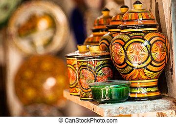 伝統的である, 通り, 支部, 土器, モロッコ